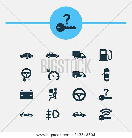 Includes Icons Such As Repairing, Truck, Hatchback And Other.  Car Icons Set.