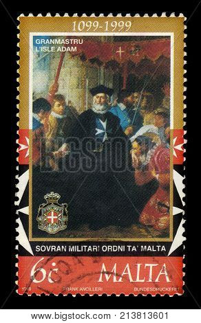 Malta - CIRCA 1999: A stamp printed in Malta shows Grand Master Philippe Villiers de L'Isle Adam of the langue of France, 900th Anniversary of the Sovereign Military Order of Malta, circa 1999