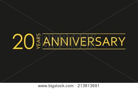 20 years anniversary emblem. Anniversary icon or label. 20 years celebration and congratulation design element. Vector illustration.