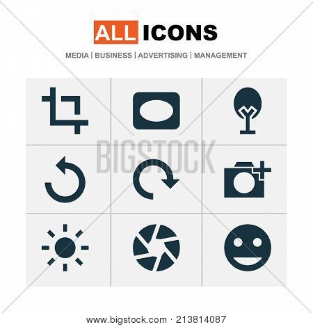 Includes Icons Such As Rotate Left, Shine, Smile And Other.  Photo Icons Set.