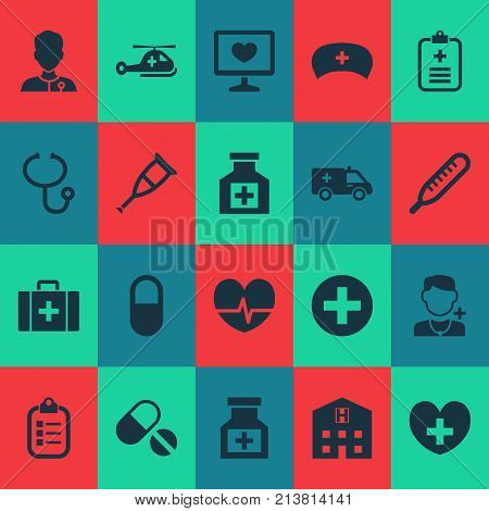 Includes Icons Such As Spike, Pills, Rhythm And Other.  Medicine Icons Set.