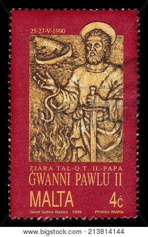 Malta - CIRCA 1990: A stamp printed in Malta shows image of the Apostle Paul, dedicated to Visit of Pope John Paul II to Malta (1990), circa 1990