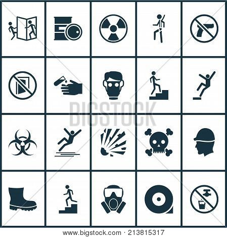 Includes Icons Such As Staircase, Mask, Step Down And Other.  Protection Icons Set.