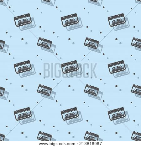 Audio Stereo Analogue Cassette Seamless Shadow Pattern