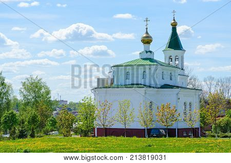POLOTSK BELARUS - MAY 19 2017: Church of Intercession of Holy Virgin (Holy Protection Church) Polotsk Belarus