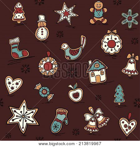 Christmas seamless pattern with Gingerbreads. Holiday pattern with Christmas icons. Holiday background for bedding, wrapping paper, fabric.