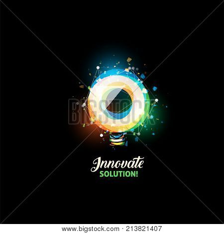 Innovate solution logo, light bulb abstract vector icon. Isolated colorful round shape, stylized lamp with text. Digital innovation technology vector illustration