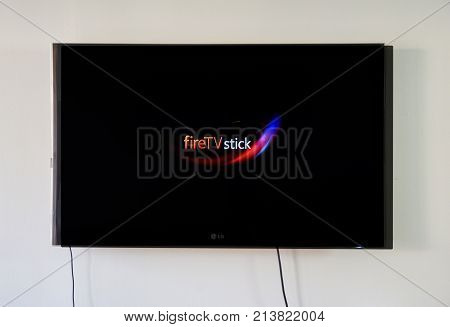 MONTREAL CANADA - NOVEMBER 15 2017: Amazon Fire TV Stick on LG TV. Amazon Fire TV Stick is a low cost version in a HDMI-stick format of Amazon Fire TV Android based.