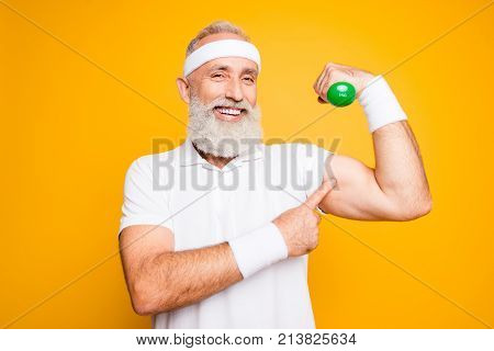 Check This Out! Cheerful Excited Modern Cool Pensioner Grandpa Practising Bodybuilding, Exercising H
