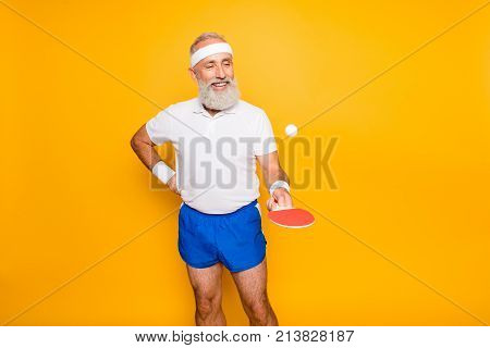 Competetive Emotional Cool Active Comic Grandpa With Beaming Grin, With Table Tennis Equipment. Heal