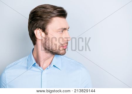 Isolated Side View Facial Close Up Portrait Of Handsome Confident Serious Man, Looking To The Side W