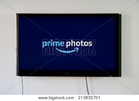 MONTREAL CANADA - NOVEMBER 15 2017: Amazon Prime Photos on LG TV. Amazon Prime Photos is a one of the services and offers unlimited storage for photos and RAW files for Prime members