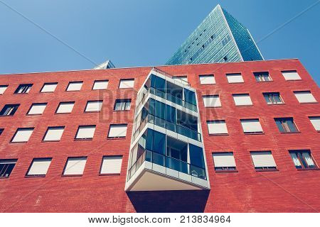 BILBAO SPAIN - July 19 2016 : architectural detail of a group of modern buildings in downtown Bilbao Spain