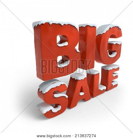 Big Sale Red 3D Text Covered with Snow on White Background. Christmas Sale Banner Design. 3D Illustration.