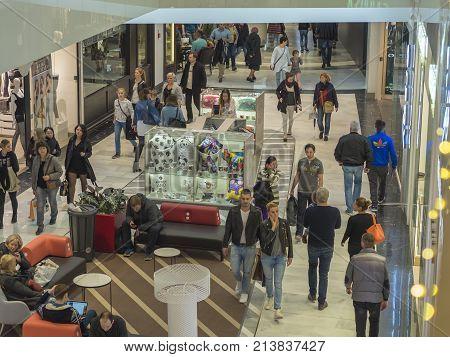 Czech Republic, Prague, Chodov Shopping Centre, November 12, 2017: People Doing Christmas Gifts Shop