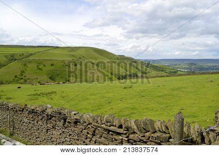 Little Hayfield countryside in Derbyshire England UK