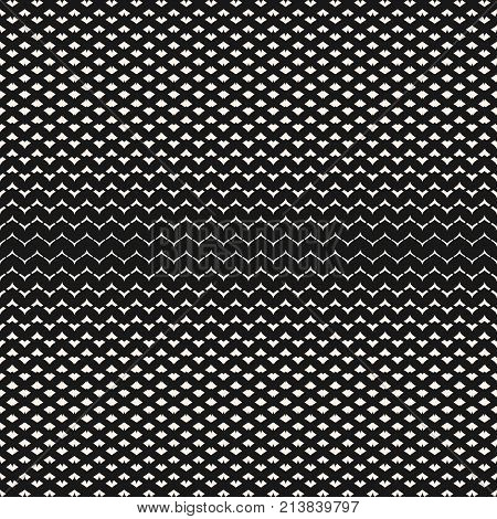 Halftone mesh seamless pattern. Illustration of smooth grid, weave, tissue, net, lattice, fabric. Abstract geometric black and white texture. Subtle monochrome repeat background. - Stock vector