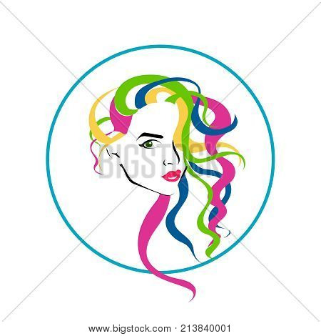 Vector lovely style woman face with colordul hairstyle logo icon for beauty salon hairdressing lashmaker