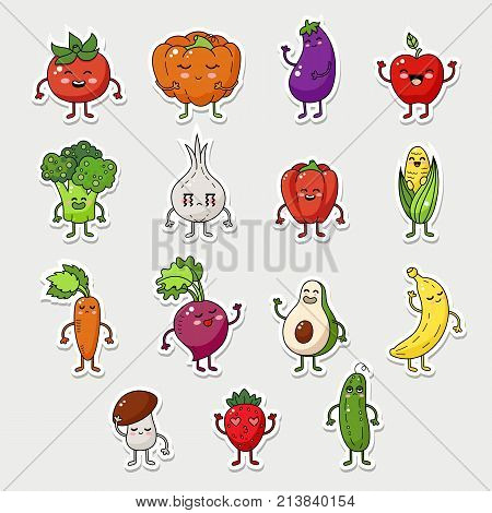 Vector fruit and vegetable character icon. Healthy fruit doodle illustration. Cartoon happy vegetable sticker big collection.