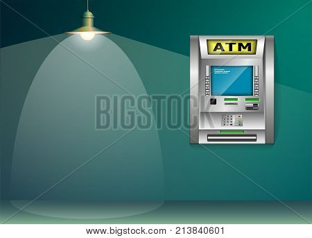 ATM - Automated teller machine. Blue and green wall. Metal lantern. High detail. 3D
