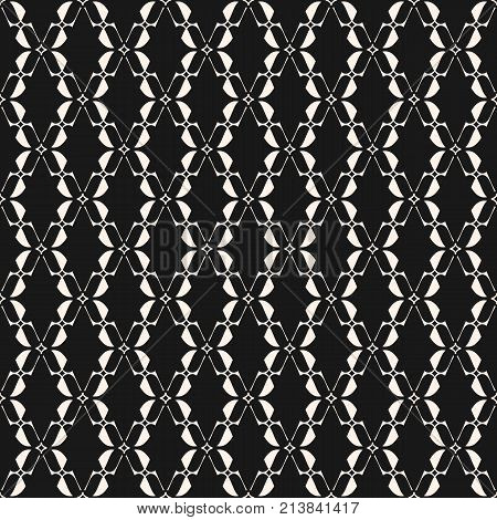 Abstract geometric seamless pattern. Elegant lace texture. Black and white background with curved shapes, thin lines, star silhouettes, mesh. Traditional motif. Design for prints, decor. Stock vector.