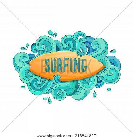 Wave surfing illustration. Good vibes Typography design for t shirt and apparel print.
