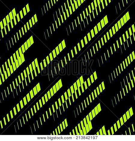 Sports background. Abstract geometric seamless pattern with diagonal lines, tracks, halftone stripes. Extreme sport style, urban art texture. Trendy background in bright neon colors, green and black. Sport pattern. Extreme pattern. Urban pattern.