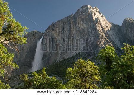 Yosemite Falls from Yosemite Valley CA .