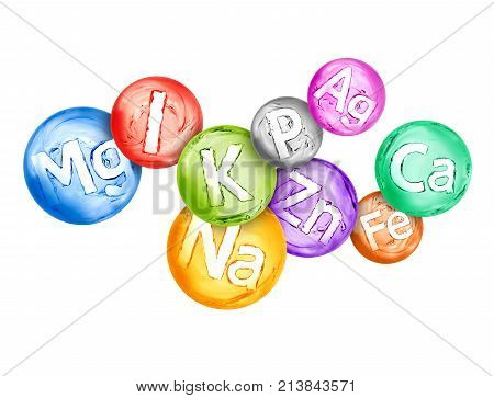Group of chemical minerals and microelements in the form of water spheres are located chaotically. 3d illustration
