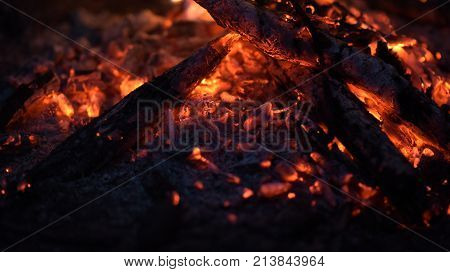 The fire, bright embers which transmit the sensation of heat.