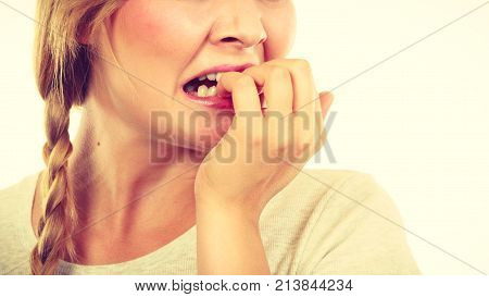 Scared, Stressed Woman Biting Her Nails