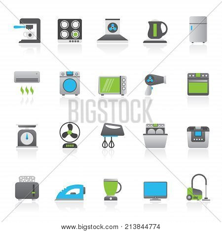 household appliances and electronics icons - vector, icon set