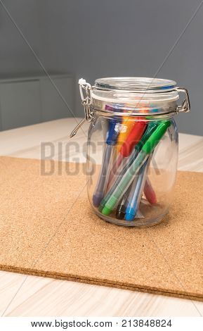 Marker Pen In Clear Glass Rounded-shape Holder For Desk Organizer And Stationery Set