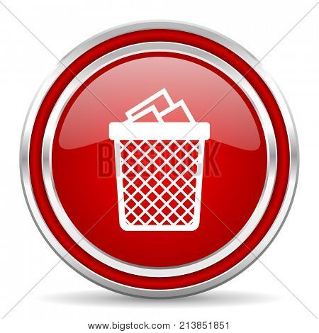 Trash can red silver metallic chrome border web and mobile phone icon on white background with shadow