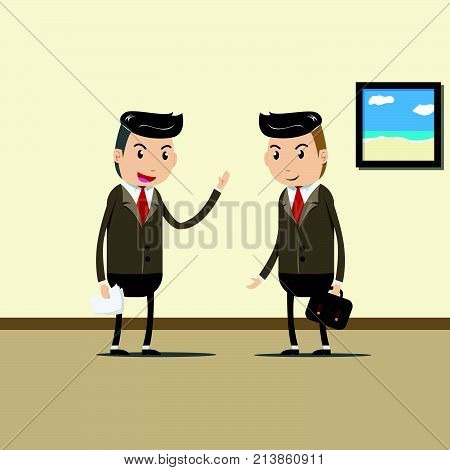 business people , business team , co-worker and teamwork concept. happy businessman discuss information with colleague about business and teamwork opinion in modern office. vector illustration EPS10
