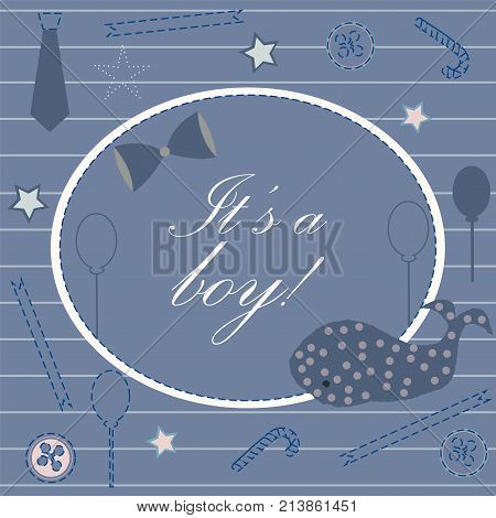 Baby Boy Birth Announcement. Baby Shower Invitation Card. Cute Whale Announces The Arrival Of Boy. C