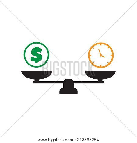 Time Is Money Vector. Scale Balance Money And Time.