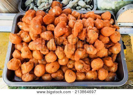 Fried vegetable is a familiar street food , Cebu city. Philippines.