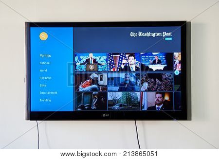 MONTREAL CANADA - NOVEMBER 15 2017: The Washington Post on LG TV. The Washington Post is an American daily newspaper. Published in Washington D.C