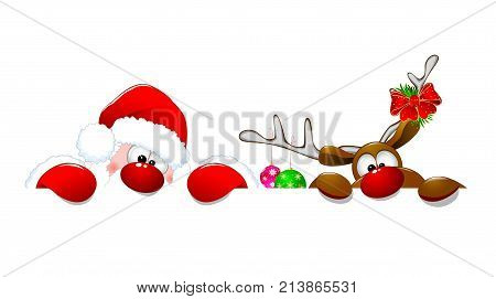 Santa Claus and a deer on a white background. Cartoons Santa Claus and deer Rudolph.