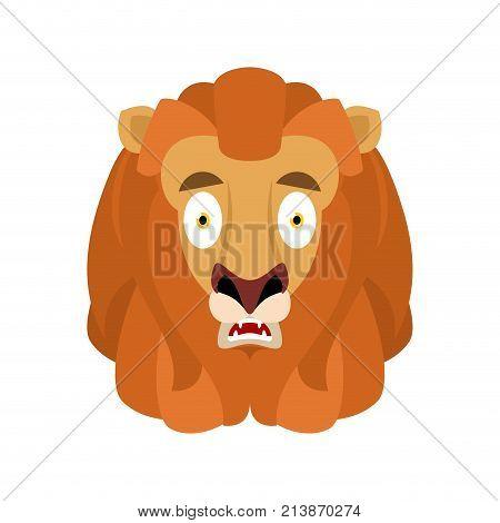 Lion Scared Omg Avatar Emotion. Wild Animal Oh My God Emoji. Frightened Beast. Vector Illustration