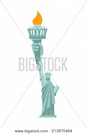 Statue Liberty is large hand. Torch. United States landmark. America is symbol. Vector illustration