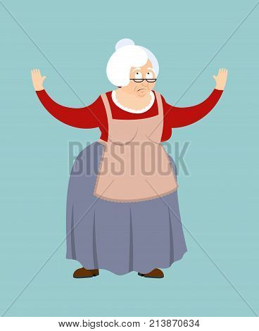 Grandmother Confused Emotions. Grandma Is Perplexed. Old Lady Surprise. Vector Illustration