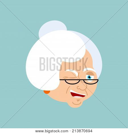 Grandmother Winks Emotion Avatar. Face Grandma Merry Emoji. Old Lady Vector Illustration