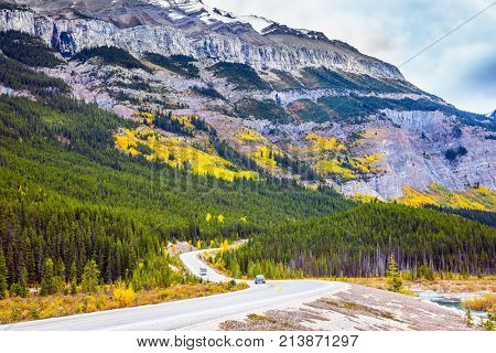 Travel to the Rockies of Canada. The road 93
