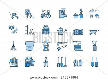 Vector set of 24 blue linear outline icons. Gardening harvesting isolated pictograms. Lawnmower, bucket,shovel, wheelbarrow and woman in working clothes, tractor
