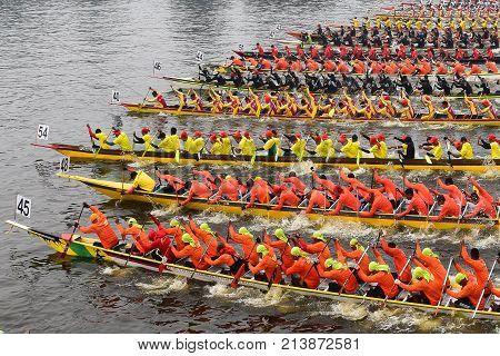 race king of river during sarawak regatta paddle boat race on november11 2017 at kuching city.