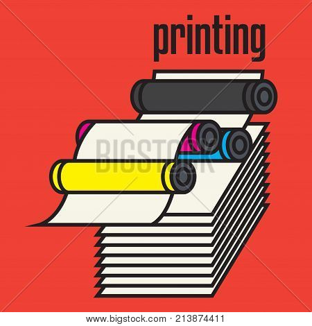 Offset printing machine sign or symbol. Press equipment symbol vector illustration