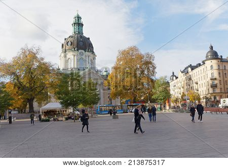 STOCKHOLM OCT 30 2017: The square Odenplan and the church Gustav Vasa in the background in central Stockholm. October 30 2017 Stockholm Sweden.
