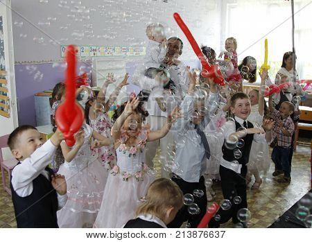 Belarus, The City Of Gomel, 06/03/2016. Kindergarten Zyabrovka.happy Beautiful Children, Smartly Cat